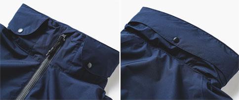 フードを襟元にコンパクトに収納可能