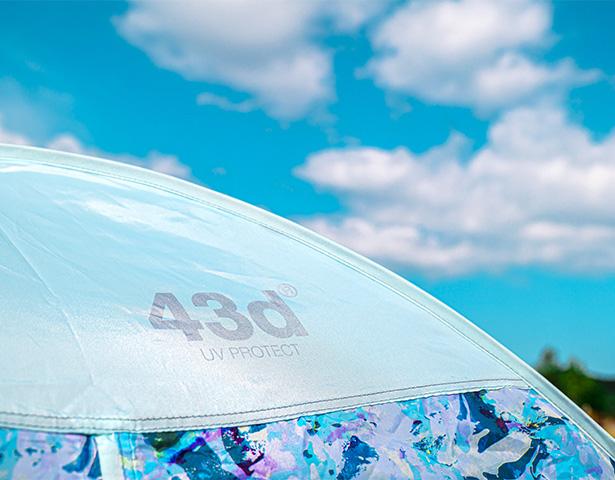 43degrees ポップアップテント 紫外線カット。耐水性も抜群。